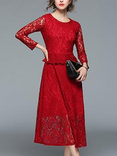 Classical Patchwork Lace Long Sleeve Elegant Dress