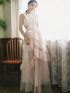 Chic Asymmetrical Gauze Patchwork Sleeveless Evening Dress