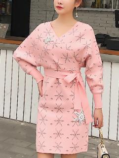 Korean Snow Diamond Wrap Knitting Long Sleeve Dress