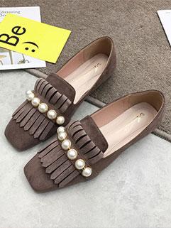 Pearls Fringe Decor Square Toe Flats