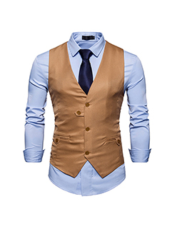 Button Closed Sleeveless Casual Man Vest