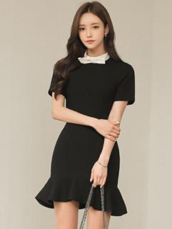 Korean Bow Fishtail Wrap Short Sleeve Dress