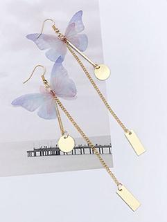 Elegant Butterfly Metal Pendant Earrings