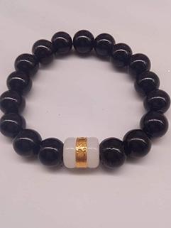 Men Black Agate White Jade Bracelet