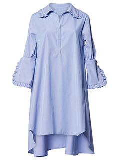 Simple Design Asymmetrical Flounced Lapel Shirt Dress