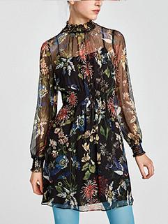 Spring Flower Printing Chiffon Dress 3-4 Days Delivery