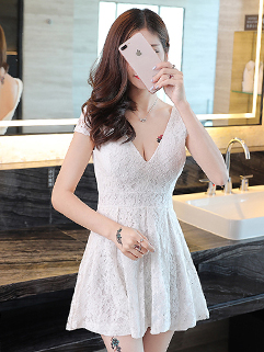 Deep V Neck Lace Slimming Full Dresses