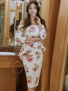 Sexy Boat Neck 3/4 Sleeve Floral Elegant Dress