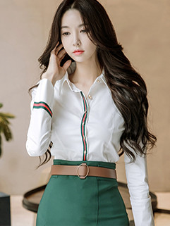 Easy Match Lapel Stripe Fitted Blouse