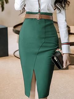New Arrival High Waist Split Solid Wrap Skirt