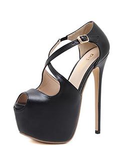 Crisscross Peep Toe Black Stiletto Sandals