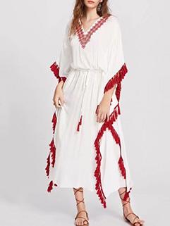 Bohemia Style V Neck Short Sleeve Tassels Dresses