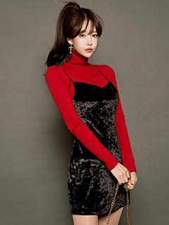 Korean High Neck Tee With Wrap Strap Velvet Dress