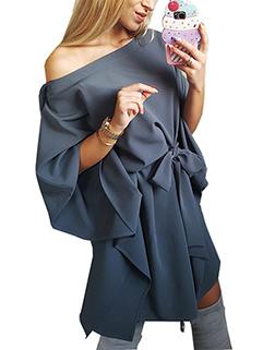 Inclined Shoulder Self Tie Short Dresses