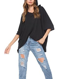 Bat Sleeve Hooded Collar Pullover Loose Women Tee