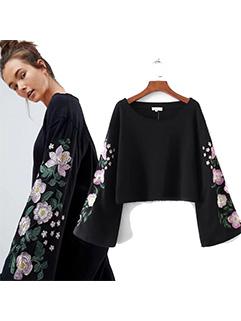 Stylish Embroidered Flare Sleeve Sweatshirt(3-4 Days Delivery)