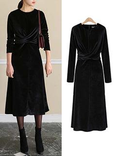 Euro Round Neck Velvet Black Maxi Dress