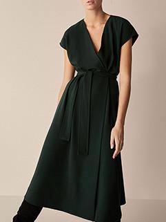 Simple Design V Neck Solid Bandage Dress