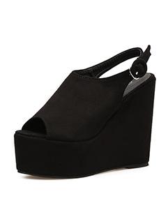 Peep Toe Black Platform Wedges Slingbacks