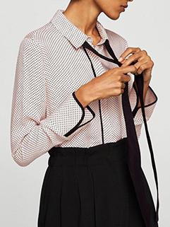 Spring Lapel Dot Printing Tie-wrap Blouse