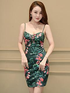 Bandage Spaghetti Straps Flower Sexy Club Dress