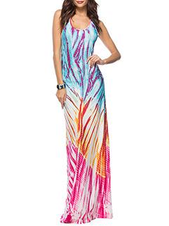 Hot Sale Style Colorful Prints Vest Long Dress