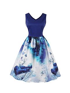 Printing Vintage Ladies Dark Blue Sleeveless Dress