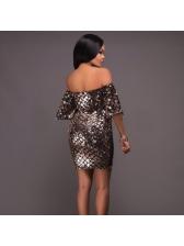 Euro Geometric Sequined Wrap Off Shoulder Dress