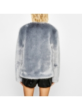 European Style Solid Cardigan Faux Fur Coat (3-4 Days Delivery )