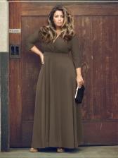Large Size V-Neck Solid Long Party Dress