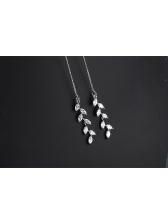 Elegant Sterling Silvery Zircon Leaf Tassel Earrings
