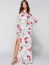 Hot Selling V Neck Flower Design Maxi Gown