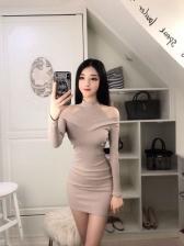 Sexy Boat Neck Off Shoulder Knitting Wrap Dress
