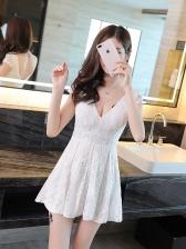 Deep V Neck Lace Slimming Full Dresses