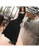 Elegant V Neck One Shoulder Tassel Long Dress
