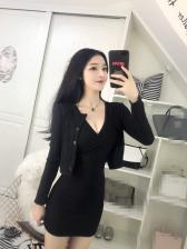 Sexy Short Cardigan Knitting V-Neck Sleeveless 2Pcs Dress