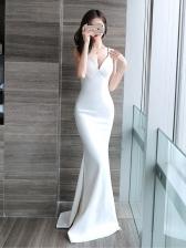 Boutique Deep V Neck Sexy Fishtail Dress