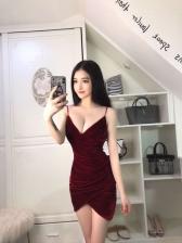 Sexy Strap V-Neck Velvet Fitted Night Club Dress