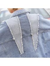Stylish Lapel Worn Out Loose Denim Jacket