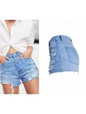 European Style Beading Worn Out Shorts