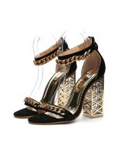 Metal Chain Ankle Strap Chunky Sandals