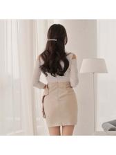 Elegant Off Shoulder Lace Patchwork Flounced Wrap Dress