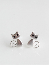 Japan Silvery Cat Design Lovely Earring