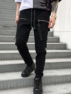 Fashion Zipper Design Black Long Pants