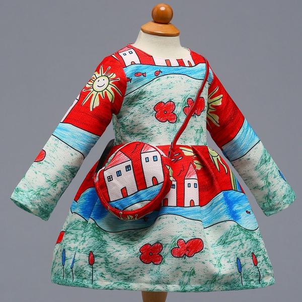 Fashion Oil Painting Stylish Princess Dress w Bag