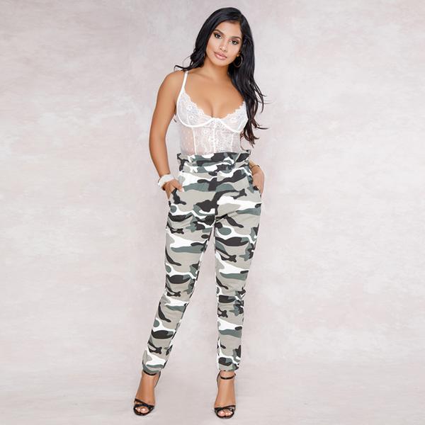 European Style Casual High Waist Camouflage Bottom