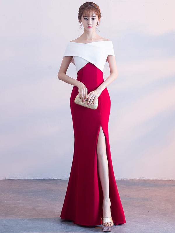 Elegant Boat Neck Backless Long Dresses
