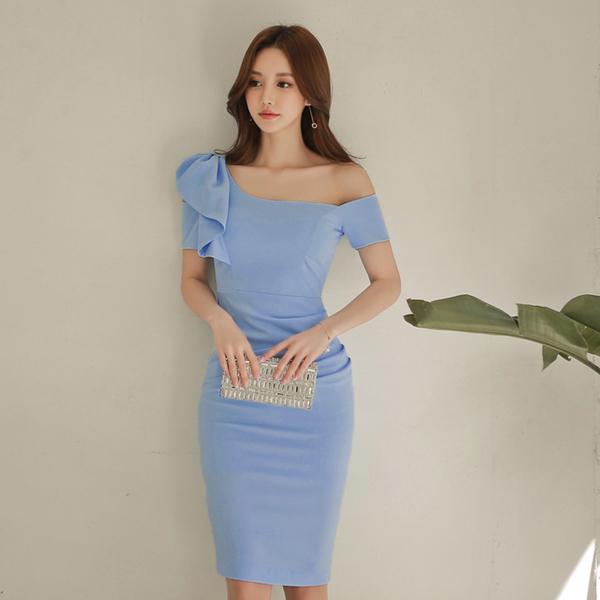 Elegant Ruffle Short Sleeve Sheath Dress