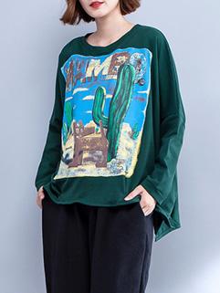 Korean Style Cartoon Prints Oversized Sweatshirt