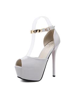 Metallic Peep-toe Stiletto Sandals